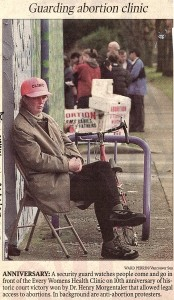 Security guard stationed at Everywoman's Health Centre, 1998