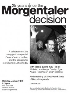 Toronto: 25 Years since the Morgentaler Decision @ Innis Town Hall | Toronto | Ontario | Canada